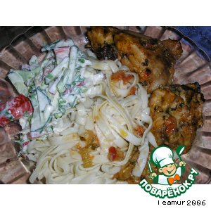 Курица в соусе, запеченная в рукаве