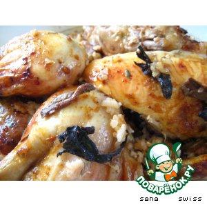Курица, запеченая в соусе песто с грибами и рисом