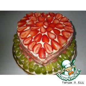 """Бисквитный торт с фруктами """"Для любимой дочери"""""""