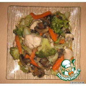 Куриное рагу с брокколи и грибами