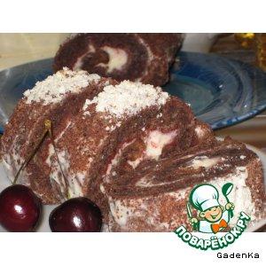 Рулет шоколадно-банановый с сырным кремом