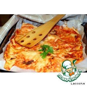 Лазанья с сыром, зеленью и творогом