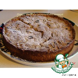 Пирог с ревенем под марципановой заливкой