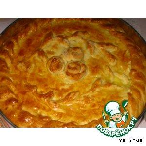 Пирог на кефире с лисичками
