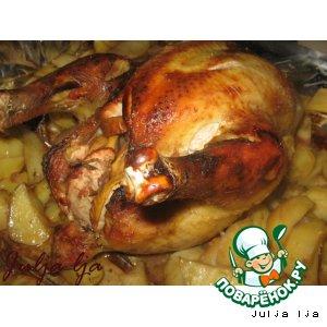 """Курица, запечeнная с яблоками """"Винно-медовая"""""""