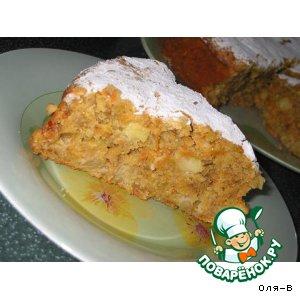 Морковно-овсяный пирог с яблоком