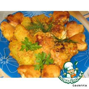 Курица в яблочно-сливочном соусе под сырными пышками