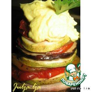 """Закуска """"Овощная карусель"""" с яично-сырным кремом"""