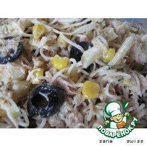 Салат   из   сельдерея  с   кукурузой,   тунцом   и   оливками