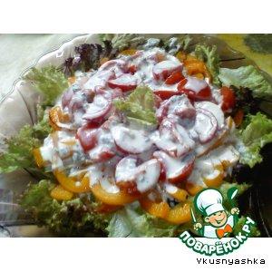 Теплый салат с соусом Дор Блю