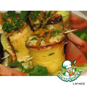 Баклажан и кабачок с морковкой по-корейски