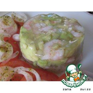 Холодный    террин   с   креветками   и   авокадо