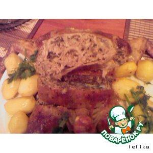 Курица фаршированная по-еревански с блинами