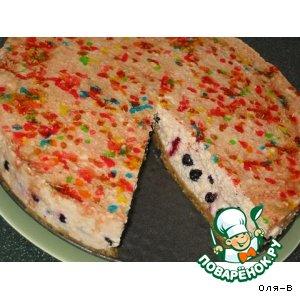 Творожный торт без выпечки  на основе из печенья