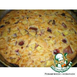 Пирог с фруктами и сгущенным молоком