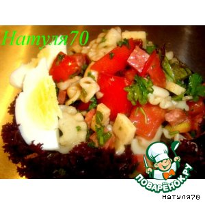 Салат из макарон с салями