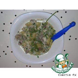 Куриные желудочки с овощами
