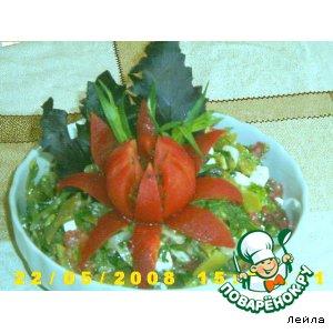 Пряный фасолевый салат с сыром