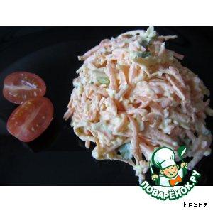 Острый салат из моркови и сыра