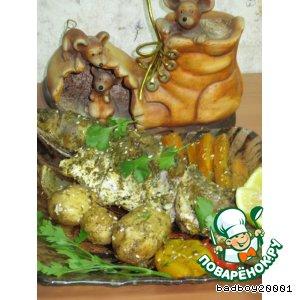 Кефаль с овощами