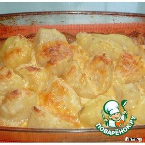 Печеный картофель под белым соусом