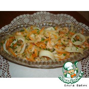 """Закуска """"Хе""""  из морепродуктов с морковью"""