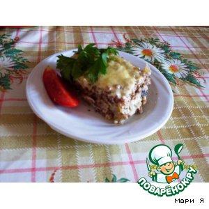 Запеканка из гречневой каши с курицей и грибами
