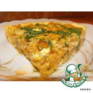 Открытый пирог с капустой и яйцами