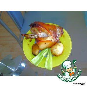 Рулька в майонезно-аджично-медовом соусе с картофелем