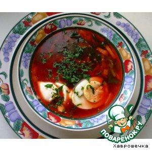 Вегетарианский суп со шпинатом и свеклой