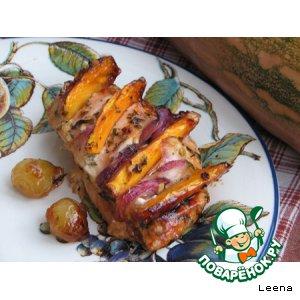 Куриная грудинка с карамелизированной тыквой в пряном маринаде