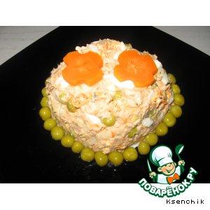 Салат из горбуши с зелeным горошком