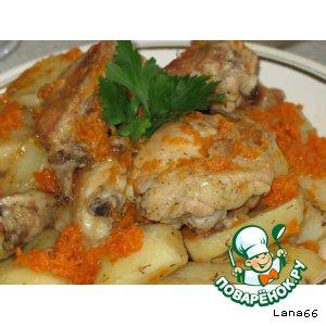 Куриные бедра с овощами в рукаве