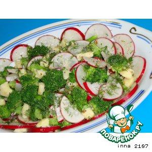 Салат из брокколи с маринованным сыром