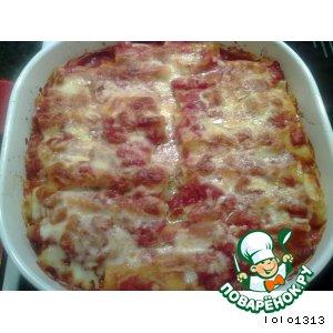 Каннеллони с мясом и сыром в томатном соусе