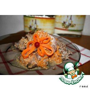 Куриная печень в сметано-тыквенном соусе