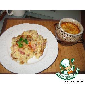 Картофельная бабка с грибами, сыром и грудинкой