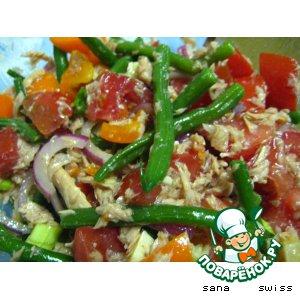 Овощной салат с тунцом и зеленой фасолью