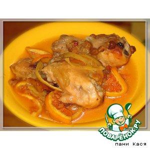 Курица с фруктами, запеченная в рукаве