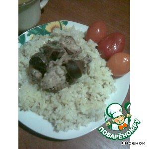 """Ароматный рис с мясным ассорти под соусом """"Винегрет"""""""