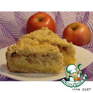 Творожный пирог с яблоками и кешью