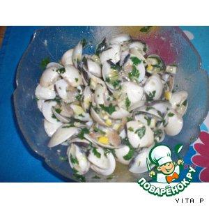 Белые моллюски с лимоном - ameijoas