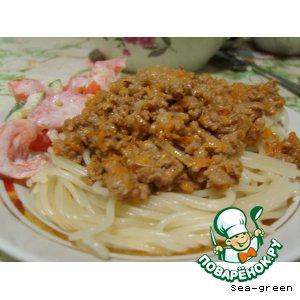 Спагетти под ароматным фаршем