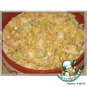 Рыбный салат с шафрановым рисом и пореем