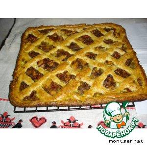 Полуоткрытый пирог с баклажанным фаршем