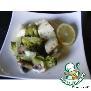 Рагу из рыбы с шампиньонами и брокколи