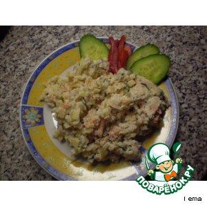Салат с копчeной рыбой