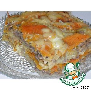 Картофельная запеканка с фаршем из куриных потрошков и тыквой