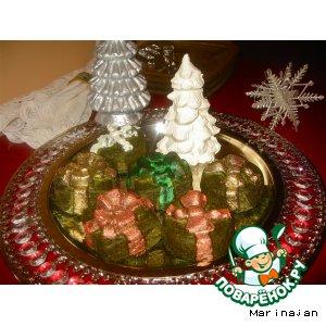 Шпинатный новогодний подарок под елкой из творога