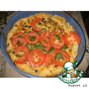 Грибной тортик с зеленью и сыром